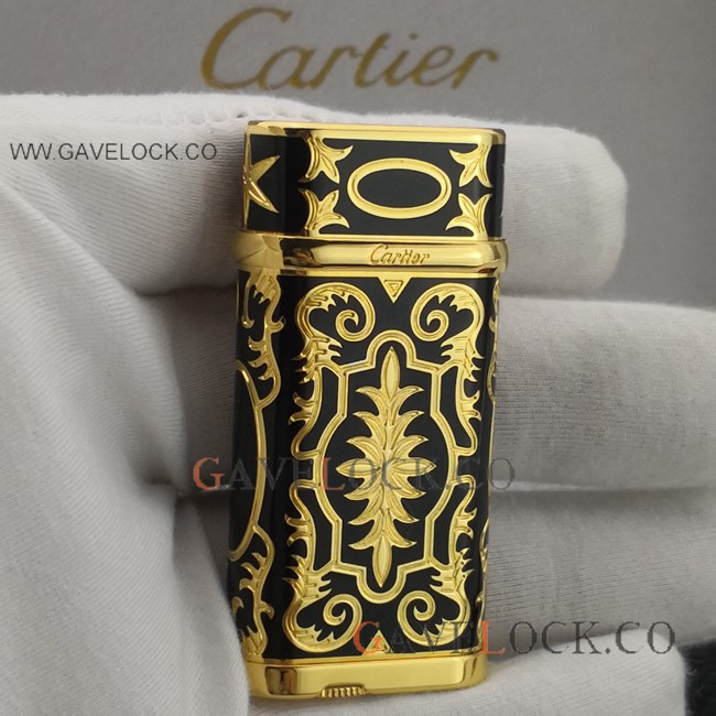 Replica Black & Gold Cartier Lighter Vintage Pattern