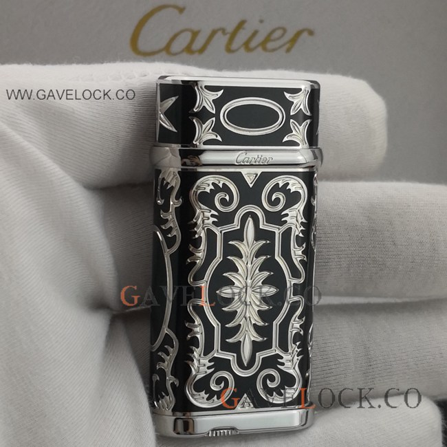 Replica Black & Silver Cartier Lighter Vintage Pattern
