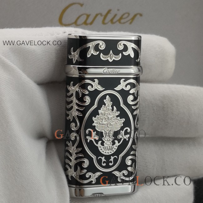 Replica Black Cartier Lighter Vintage Silver Pattern