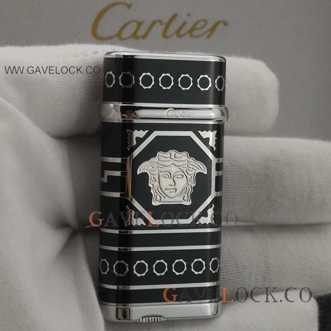 Replica Cartier Lighter Black Coated Silver Pattern