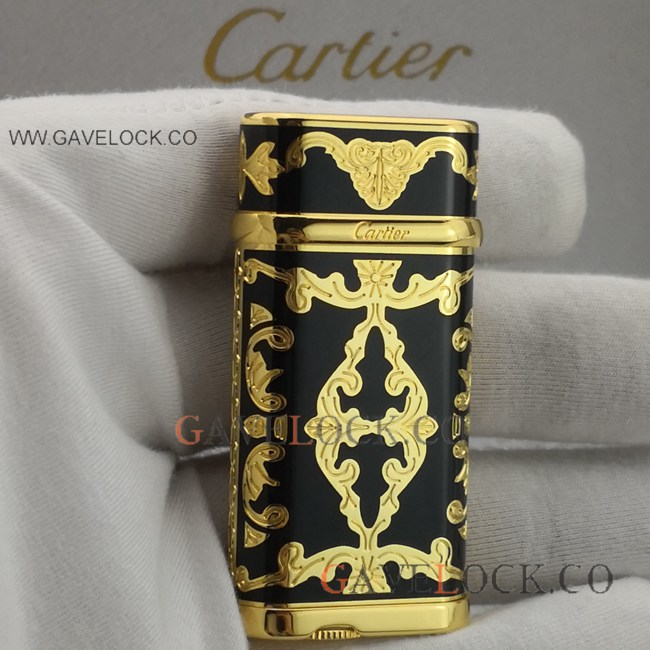Replica Cartier Lighter Vintage Black & Gold Pattern