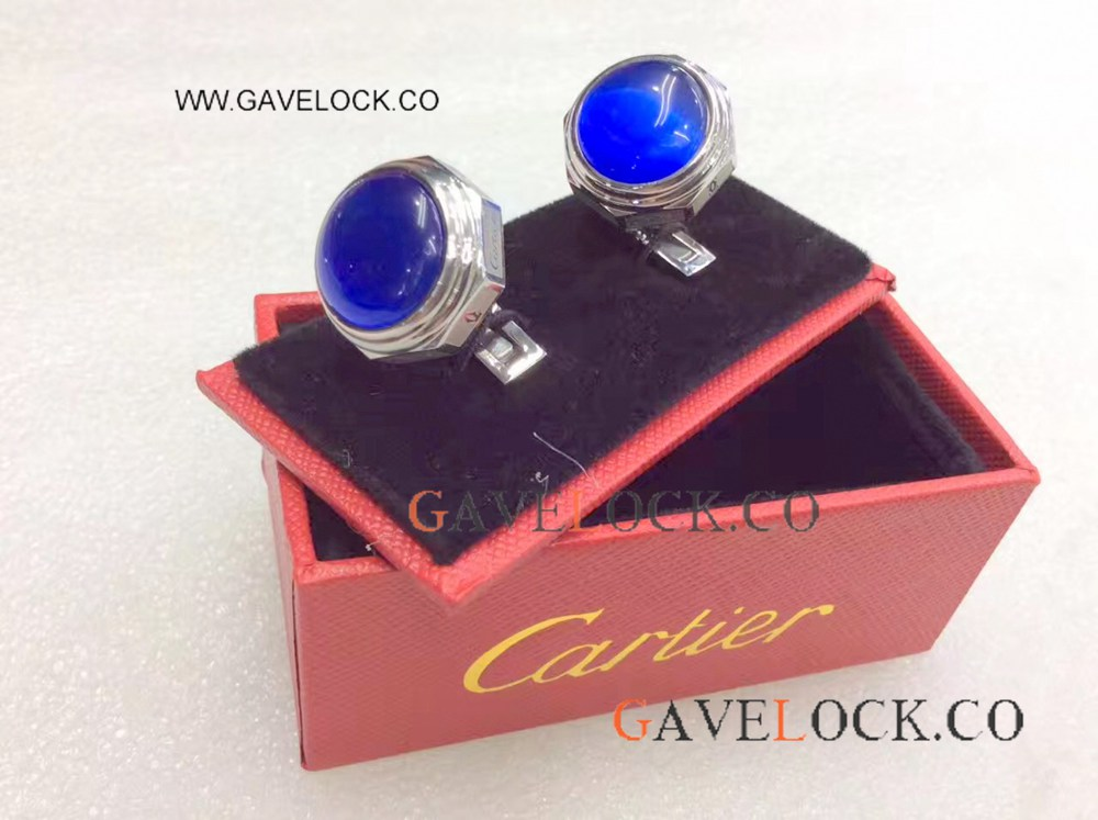 Replica Cartier Steel Cufflinks With Blue Glass Inlay / Low Cartier Cufflinks Prices