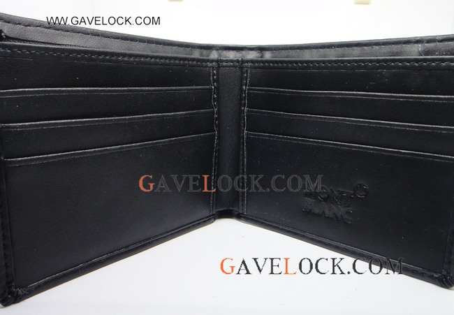 Replica Montblanc Black Leather Wallet Wholesale - Free Ship Montblanc Wallets