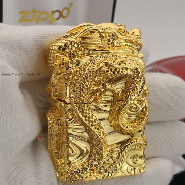 Replica Zippo Lighter Vintage 3D Dragon Gold Plated