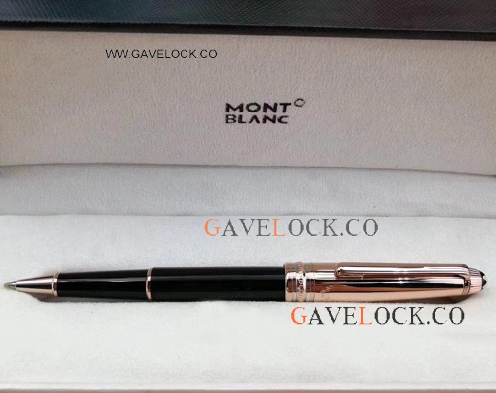 Black & Rose Gold Replica Montblanc Meisterstuck Rollerball Pen/ Montblanc Pens On Sale