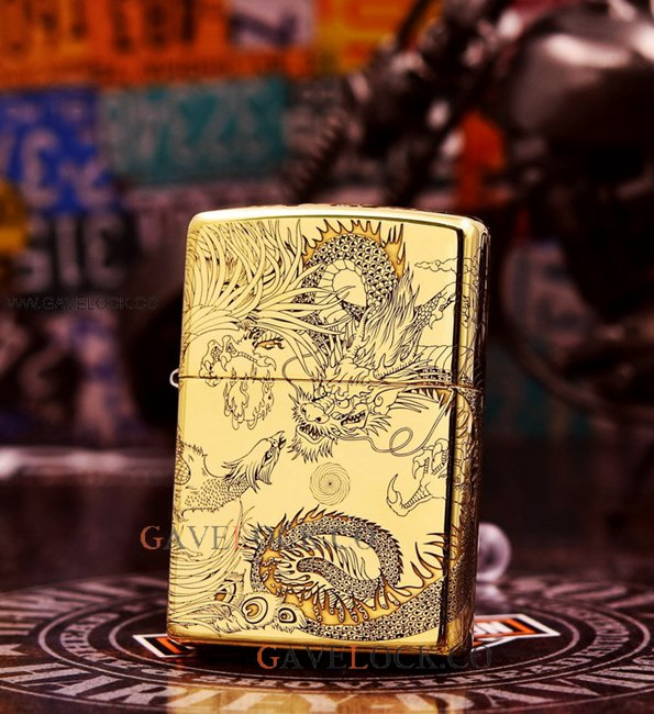 Vintage Zippo Lighter Gold-Plated Dragon Decor Trim