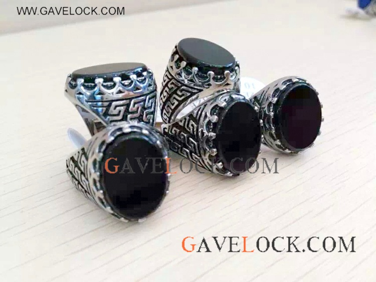 Western Style Black Stainless Steel Ring