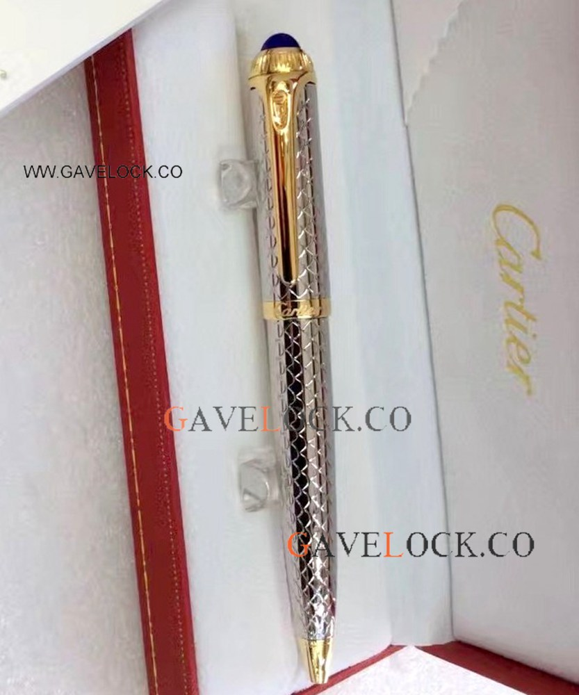 Wholesale Price Copy Roadster de Cartier Stainless Steel Ballpoint Pen Gold Trim