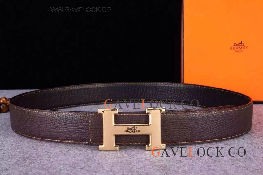 Wholesale Replica Belts Hermes Brown Leather Belt With Gold H Buckle