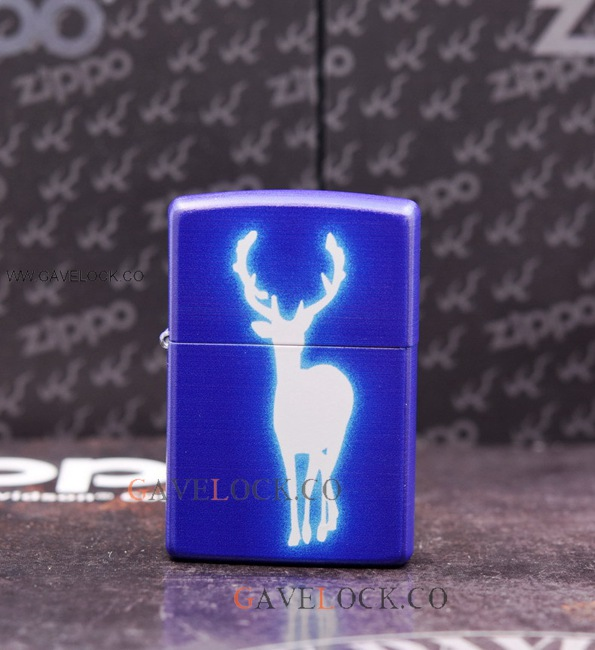 Zippo Blue Fluorescent Deer Lighter Made In USA-Boxed