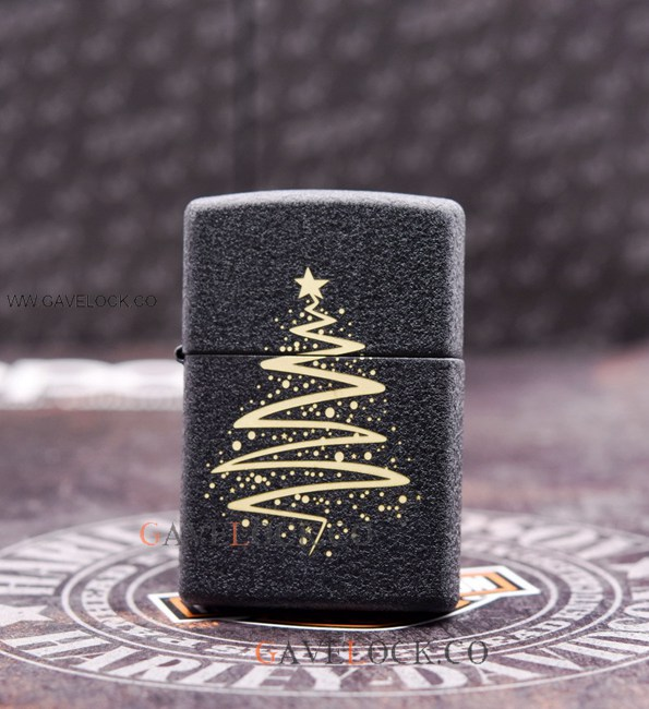 Zippo Matte Black Lighter Gold Christmas Tree Decor